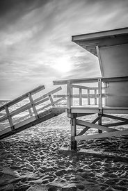 Malibu Lifeguard Tower #3 Black and White Photo