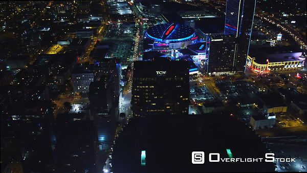 Nighttime Approach to the Staples Center in Downtown Los Angeles.