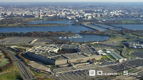 Wide View of the Pentagon With Washington DC Across the Potomac in Background.