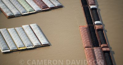 Aerial Photo, Louisiana, Barges