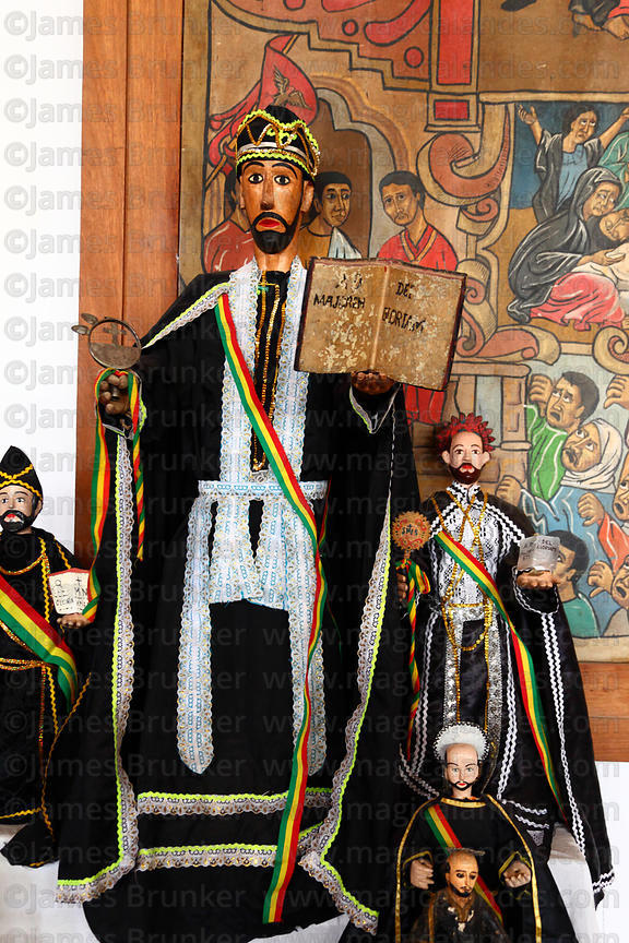 Figures of San Ignacio inside Jesuit church for festival, San Ignacio de Moxos, Bolivia