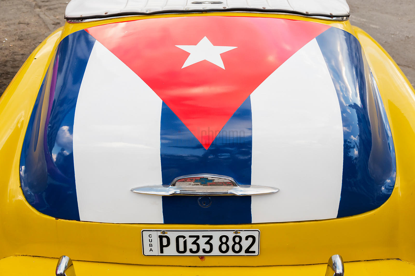 Cuban Flag on the Trunk of a American Vintage Car