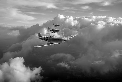 Spitfires among clouds black and white version