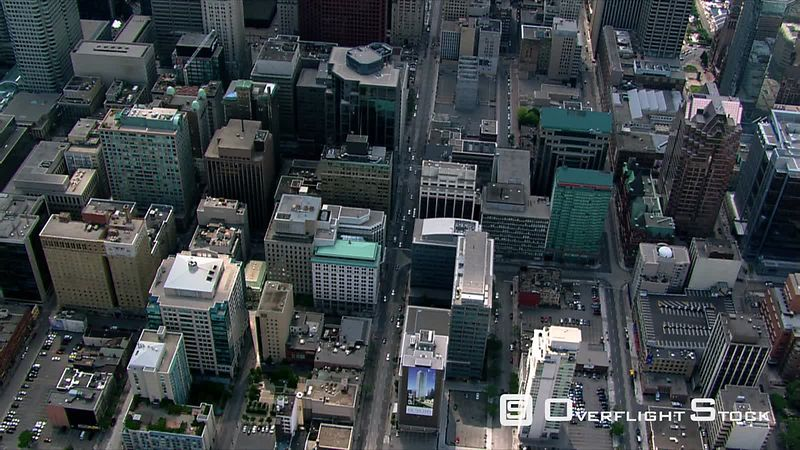 Flying above or near skyscrapers in Toronto, Ontario.