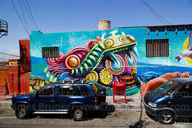 Unusual monster mural on wallof house, Arica, Region XV, Chile