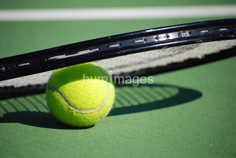 Tennis ball and tennis raquet