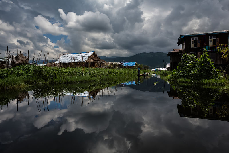 Reflection of clouds at Inle Lake