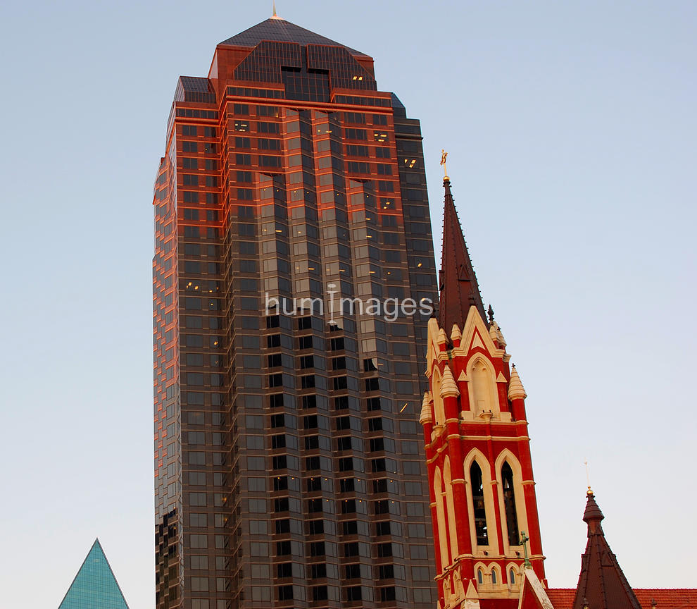 Triangle shapes in the Dallas, Texas skyline (Guadalupe Church in foreground)