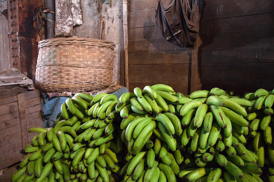 Bananas being stored in a warehouse at Newmarket, Kolkata, India.