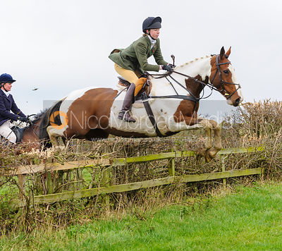 Charlotte Bell jumping at Stone Lodge Farm - The Cottesmore Hunt at Tilton on the Hill, 9-11-13