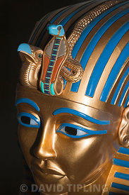 Replica of funerary mask of Pharaoh Tutankhamun showing vulture