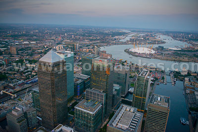 Aerial view over Canada Square, Canary Wharf, London