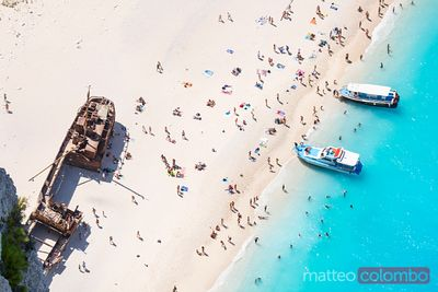 Aerial view of famous shipwreck beach. Zakynthos, Greek Islands, Greece