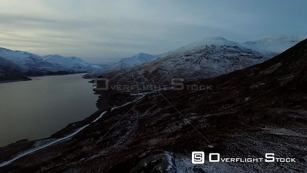 Loch Mullardoch Scotland in Winter Snow