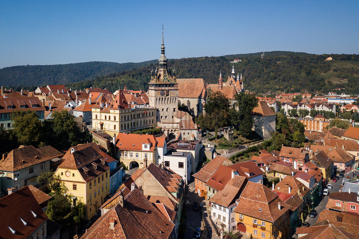 Elevated View of the Old Town of Sighisoara