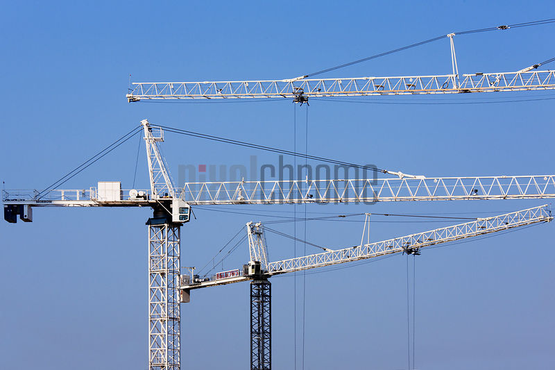 Cranes at a construction site, Houston, Harris County, Texas, USA