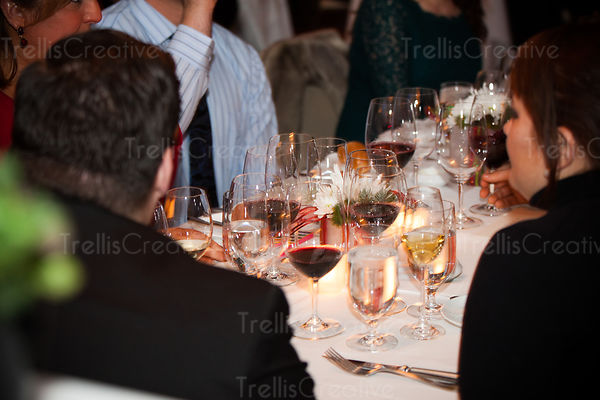 Wine tasting event with glasses of red and white wines on the table