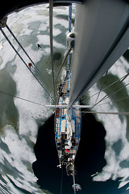 Fish eye view of a steel hull sailboat from the crow's nest, Spitsbergen, Svalbard Archipelago, Norway, July 2011