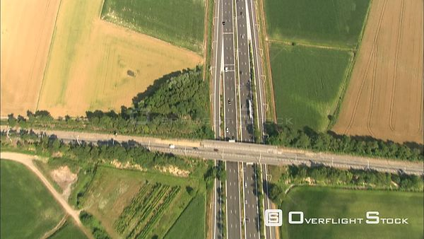 Above a highway in rural West Flanders, Belgium
