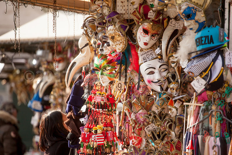Colourful display of Venice Carnival Masks and other Souvenirs