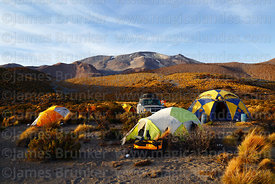 Base camp  and Isluga volcano, Isluga National Park, Region I, Chile