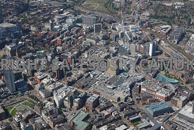 Manchester High level view looking across the Printworks the Arndale shopping Centre  and the National Football Museum  Shude...