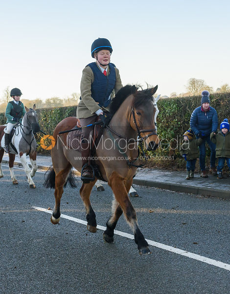 Sam Smith leaving the meet - The Cottesmore Hunt at Pickwell Manor 28/12