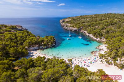 Aerial view of Cala Turqueta beach, Menorca