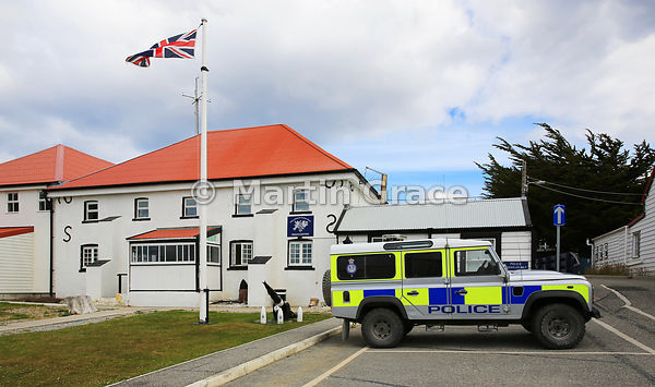 Royal Falkland Islands Police Headquaters with Police Land Rover, Stanley, East Falkland, Falkland Islands