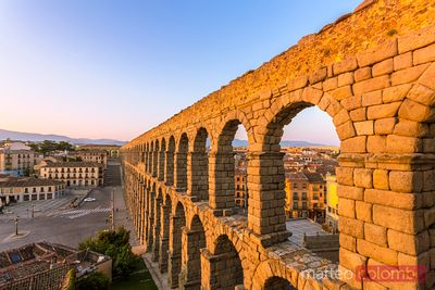 The roman aqueduct at sunrise, Segovia, Spain