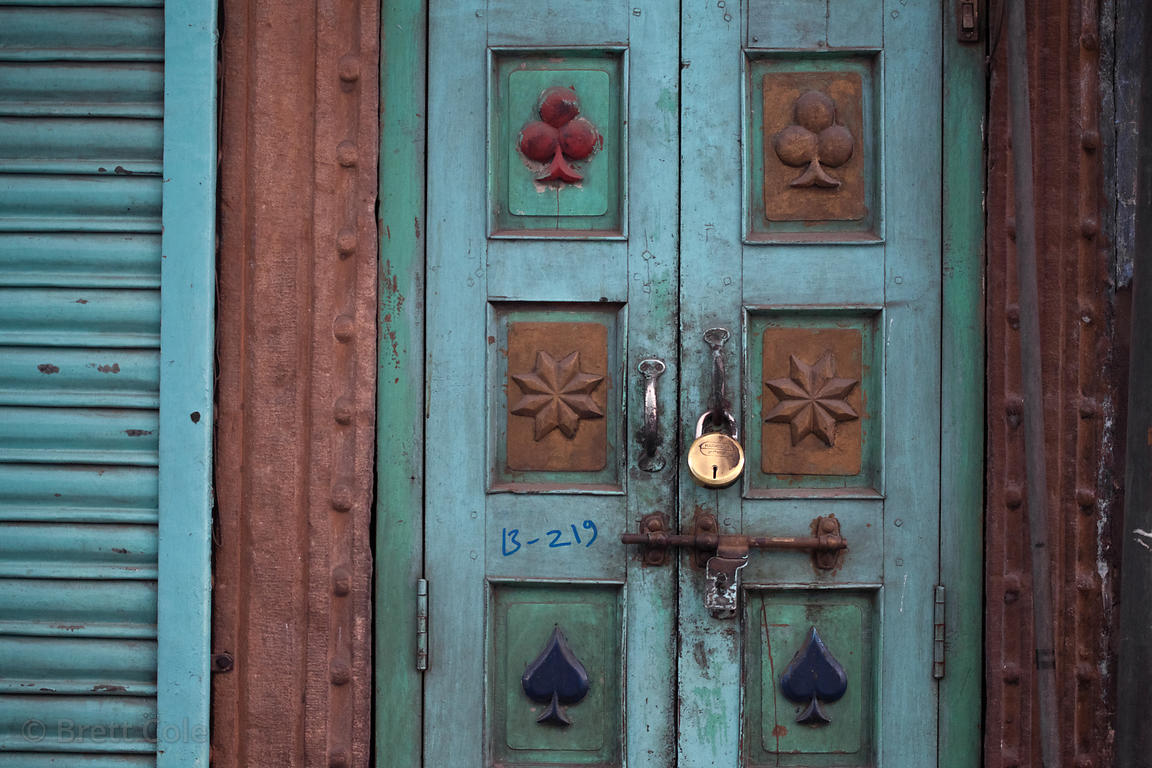 Whimsical playing card symbols on a door, Jodhpur, Rajasthan, India
