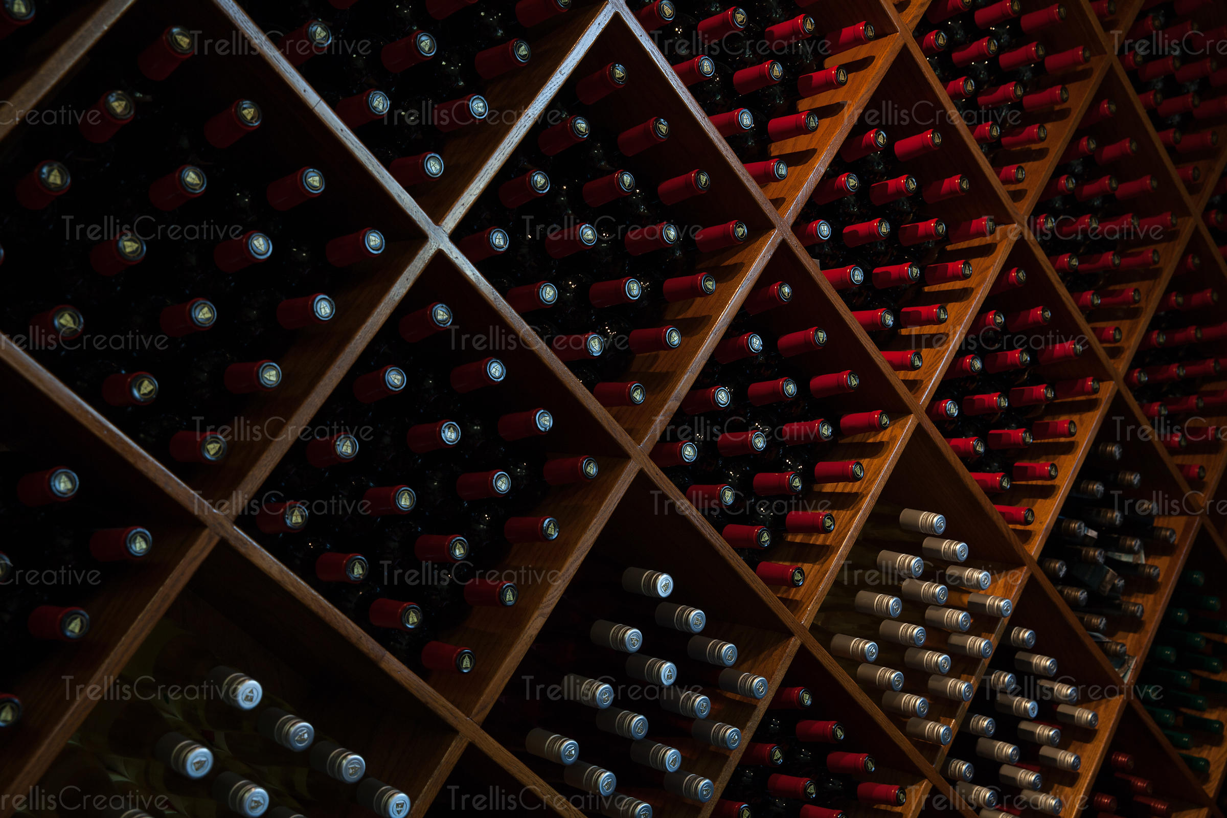 Wine cellar with racks of wine