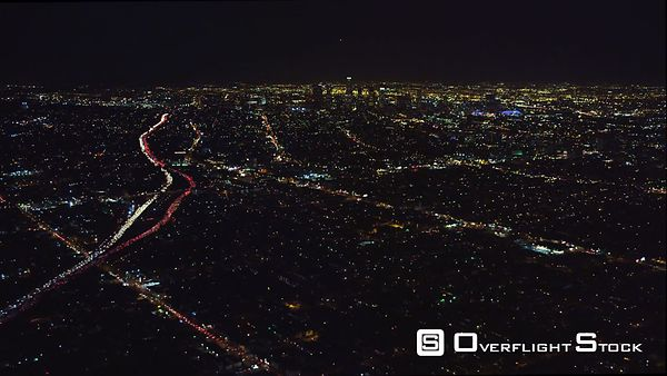 Flying Over Los Angeles Traffic at Night.