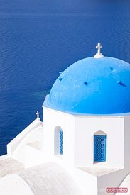 Blue domed orthodox church in Oia, Santorini, Greece
