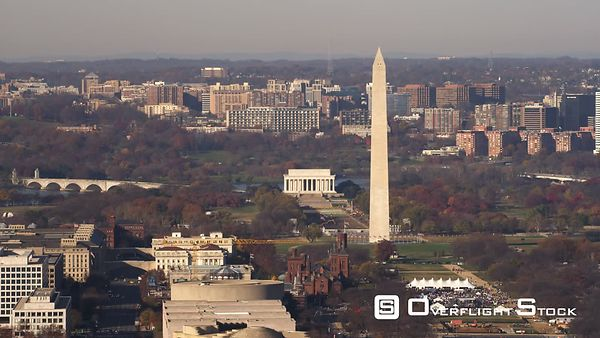 Flying Over Capitol Hill With Washington Monument and Lincoln Memorial on National Mall Behind Capitol Building  Arlington, V...
