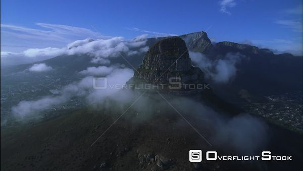 Aerial shot going over Lion's head with the city of Cape Town below. Eastern Cape South Africa