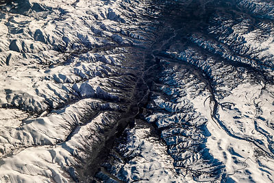 View from plane of Elburz Mountains, Iran, December.