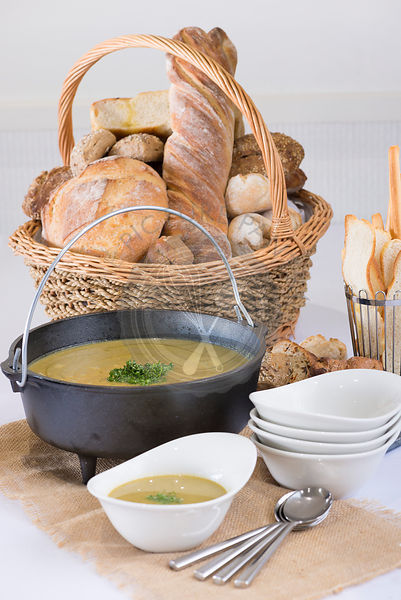 Rustic breads and soup