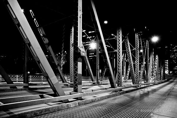 HAWTHORNE STELL BRIDGE DOWNTOWN PORTLAND OREGON AT NIGHT BLACK AND WHITE