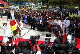 The national press covers the arrival of Bolivian president Evo Morales Ayma for official events for Dia del Mar / Day of the...