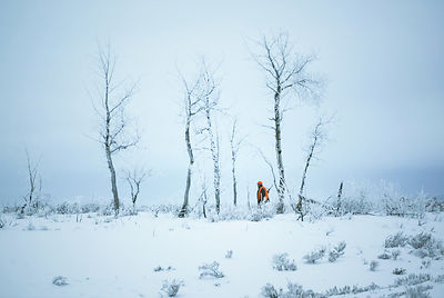 Hunter walking through snow, Wyoming