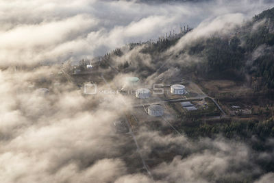 Oil Refinery Near Burnaby Mountain, BC, Canada.