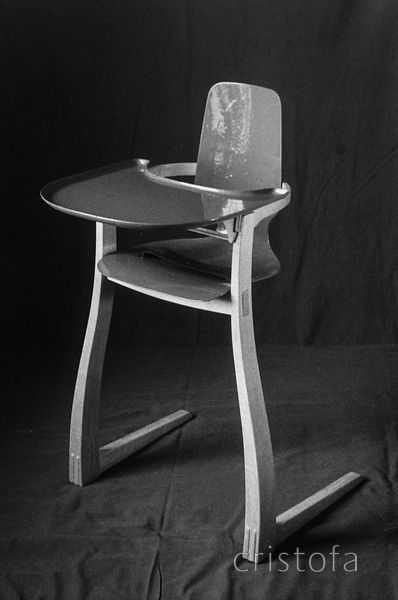 high chair made of sycamore and fibre-glass