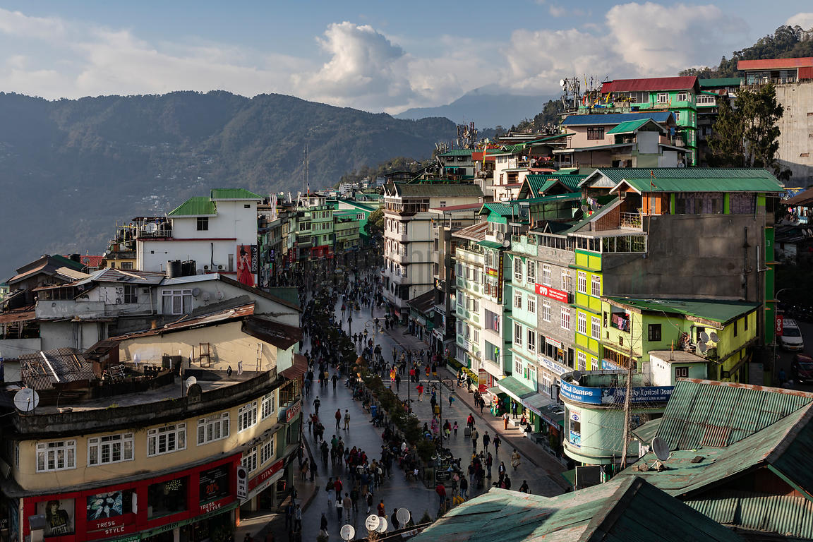Elevated View of Mahatma Gandhi Marg Pedestrian Street in Gangtok