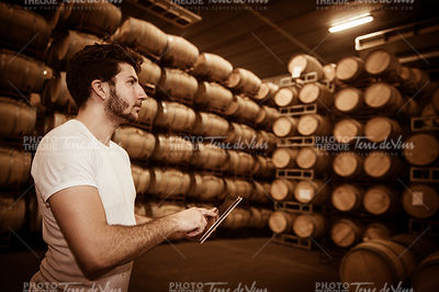 Winemaker counting the barrels with tablet in a large storage
