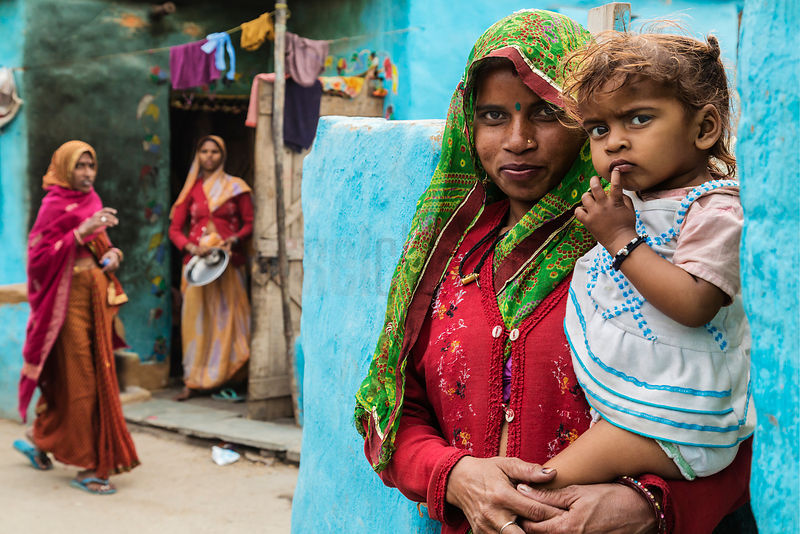 Portrait of a Mother and Baby at New Delhi Slum