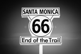 Santa Monica Route 66 Sign in Black and White
