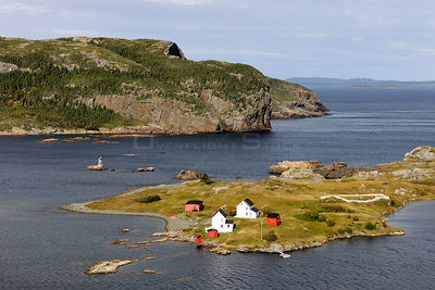 Aerial view of Burden's Point, Salvage village, east coast of Newfoundland, Canada, September 2010