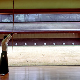 An archer in front of targets at the Kyoto dojo