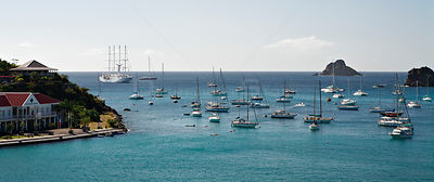 Yachts and tall ship at anchor in harbours, Caribbean. February 2006.